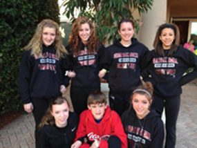 Seven members of the Rhythm in Motion Dance Center are in Tampa, to perform during the half-time show of the Outback Bowl. The dancers are, back row from left to right, Olyvia Sloan, Erica Sheehan, Kendra Paul, Ashley Schweyer; front row from left to right, Amelia Heslep, Evan Smittle, Kelsey Zimmerly.